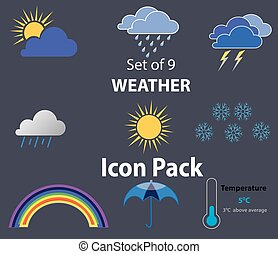 Package of 9 Weather icons related. Flat design, EPS 10, Vector illustration signs. Rainbow, Snowflakes, Sun, Clouds, Rain drops, Thermometer, Umbrella, Temperature.