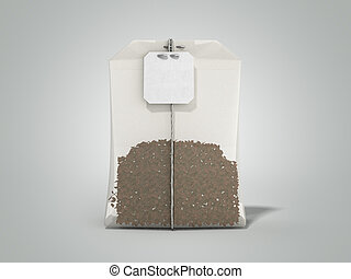 Package of Tea 3d render on grey background