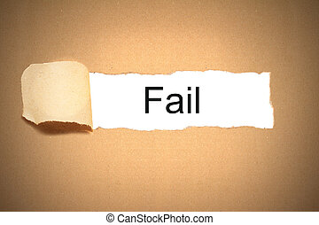 package paper carton torn to reveal fail
