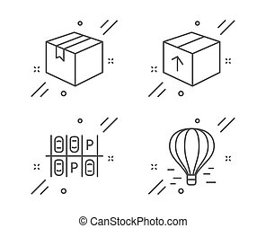 Package, Parking place and Parcel icons set. Air balloon sign. Delivery pack, Transport, Shipping box. Vector