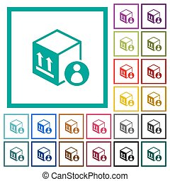Package recipient flat color icons with quadrant frames on white background