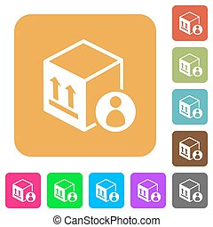 Package recipient flat icons on rounded square vivid color backgrounds.