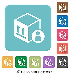 Package recipient white flat icons on color rounded square backgrounds