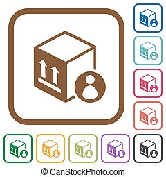 Package recipient simple icons in color rounded square frames on white background