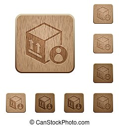 Package recipient on rounded square carved wooden button styles