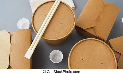 disposable paper containers for takeaway food - package,...