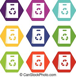 Package recycling icon set color hexahedron