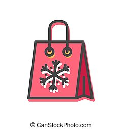 Package Snowflake Christmas Vector Illustration