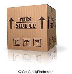 this side up package cardboard box with text