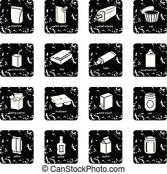 Package types icons set grunge vector