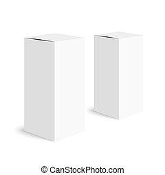 Package white box - The two packing boxes on a white...
