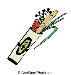 Package with food products, bakery and fresh herbs. Vector doodle kitchen utensils.