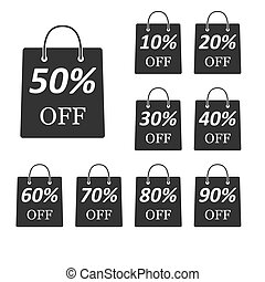 Package with the discount amount. A set of vector icons isolated on a white background