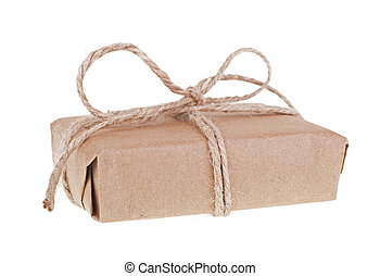 Package Wrapped With Brown Paper and String