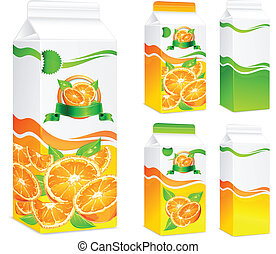 Packages for juice, paper packing with oranges and leaves, vector illustration