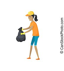Packages with Garbage Vector Illustration Big Bags