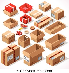 Packaging 01 Objects Isometric - Cardboard Boxes Set opened...