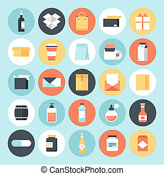 Packaging - Abstract flat vector package icons. Design ...