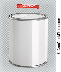 Packaging building and sanitary. White tin of paint. 3d realism, vector mockup