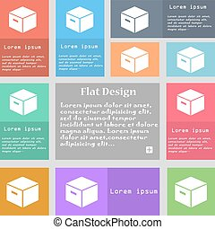 packaging cardboard box icon sign. Set of multicolored buttons with space for text. Vector
