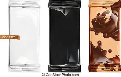 packaging., cioccolato, vettore, mockup, 3d