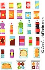 Packaging food. Bottle set