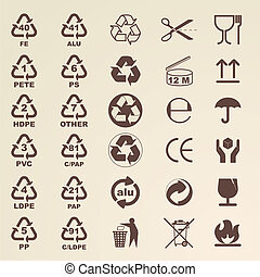 Packaging icons for designers - Vector illustrations of...