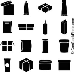Packaging icons set, simple style