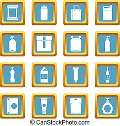 Packaging items icons azure