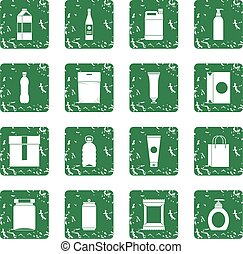 Packaging items icons set grunge