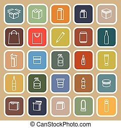 Packaging line flat icons on brown background