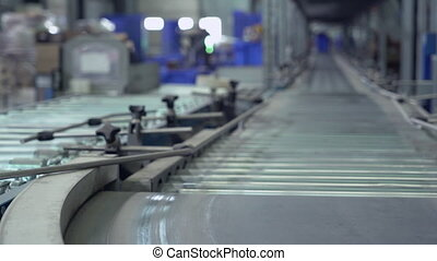 Packaging lines in warehouse.