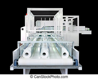 Packaging machine for paper rolls, serviettes and handkerchiefs.