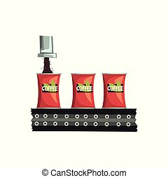 Packaging of coffee, automated belt conveyor vector Illustration on a white background