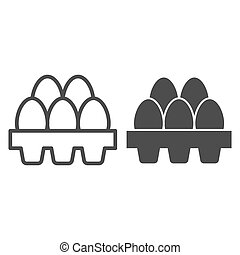 Packaging of fresh eggs line and solid icon. Five egg in carton package outline style pictogram on white background. Chicken eggs in carton tray box for mobile concept and web design. Vector graphics.