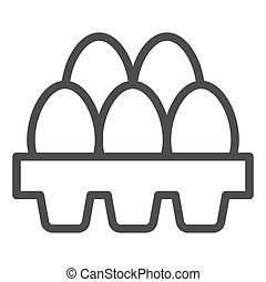 Packaging of fresh eggs line icon. Five egg in carton package outline style pictogram on white background. Chicken eggs in paper carton tray box for mobile concept and web design. Vector graphics.