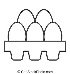 Packaging of fresh eggs thin line icon. Five egg in carton package outline style pictogram on white background. Chicken eggs in paper carton tray for mobile concept and web design. Vector graphics.