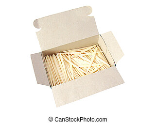 Packaging of new toothpicks isolated on a white background.