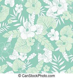 packaging., papier peint, hibiscus, flowers., seamless, vacances, lumière bleue, modèle, vecteur, feuilles, usines, grand, vert, tissu, hawaien, été, themed, exotique
