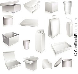 Packaging set with paper cup carton containers and boxes blank isolated vector illustration