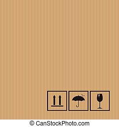 Packaging symbols set on cardboard background