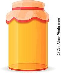 Packed honey jar icon, cartoon style