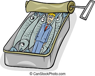 Cartoon Humor Concept Illustration of Packed Like Sardines Saying or Proverb