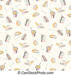 Packed Lunch Seamless Pattern, Hand Drawn Flat Color Vector Food