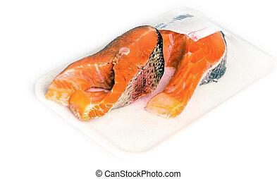 packed rainbow salmon meat