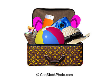 Packed vintage suitcase full of items for summer holidays travel, vacation, travel and trip isolated on white