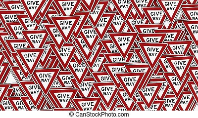 Packed Wall of Give Way Traffic Signs