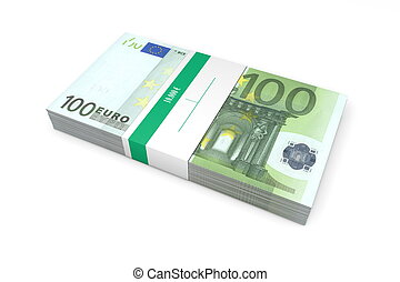 Packet of 100 Euro Notes with Bank Wrapper