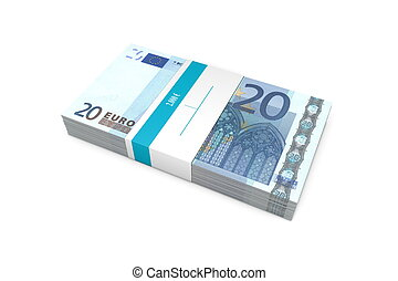 Packet of 20 Euro Notes with Bank Wrapper