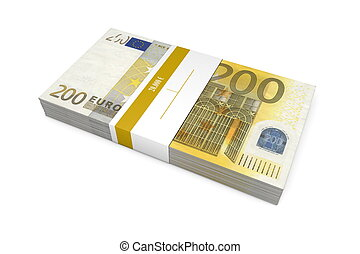 Packet of 200 Euro Notes with Bank Wrapper